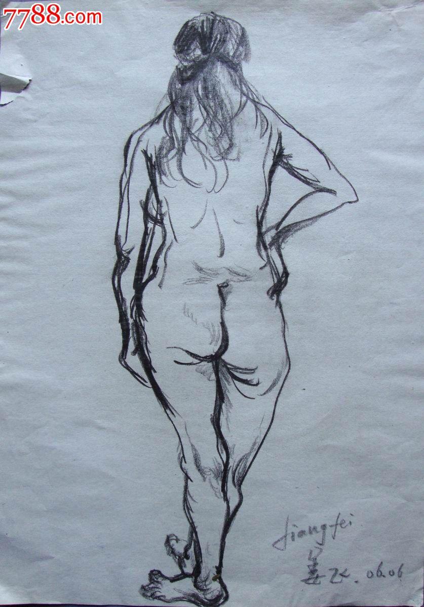 黑白铅笔手绘背影