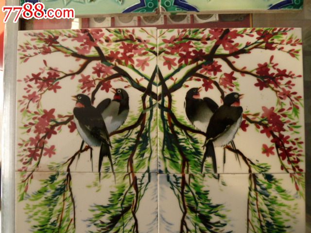 民国瓷砖--全品的柳树燕子一套