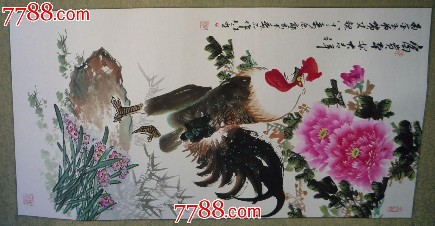 国画手绘原稿牡丹雄鸡富贵吉祥