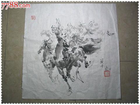 八骏图*风格独特的手绘水墨画