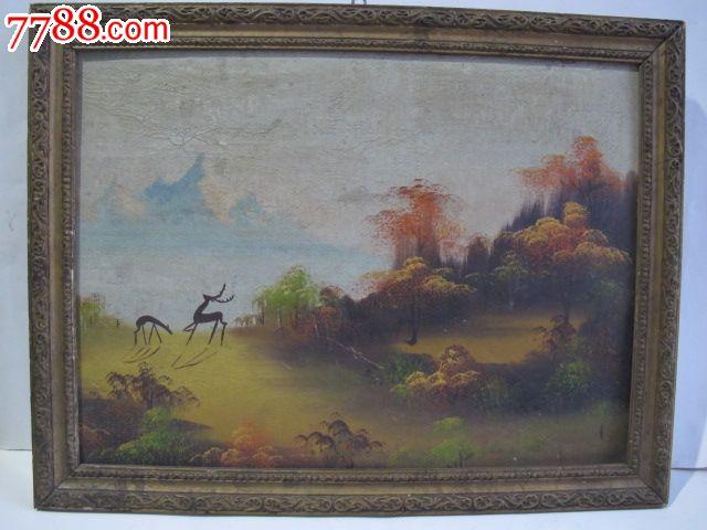 风景动物手绘油画