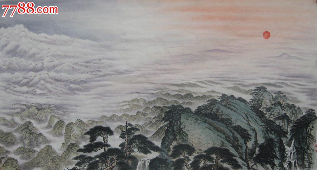 纯手绘国画仿人民大会堂傅抱石关山月六尺山水江山如此多娇