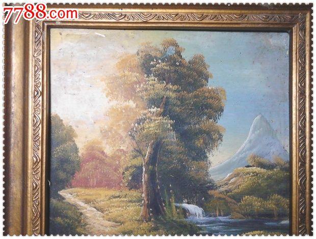 古典精美的手绘风景旧油画