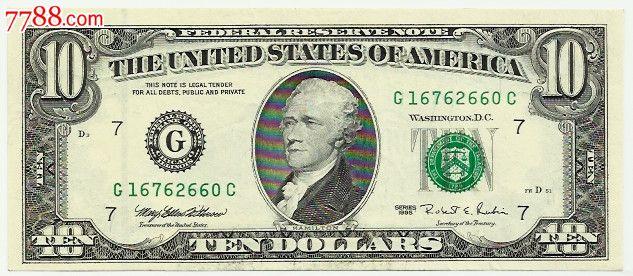 美元10元纸币