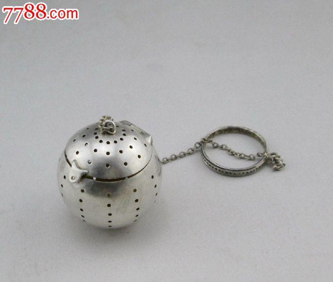 罕见可爱小巧球形泡普洱925纯银茶滤茶球全品西洋古董