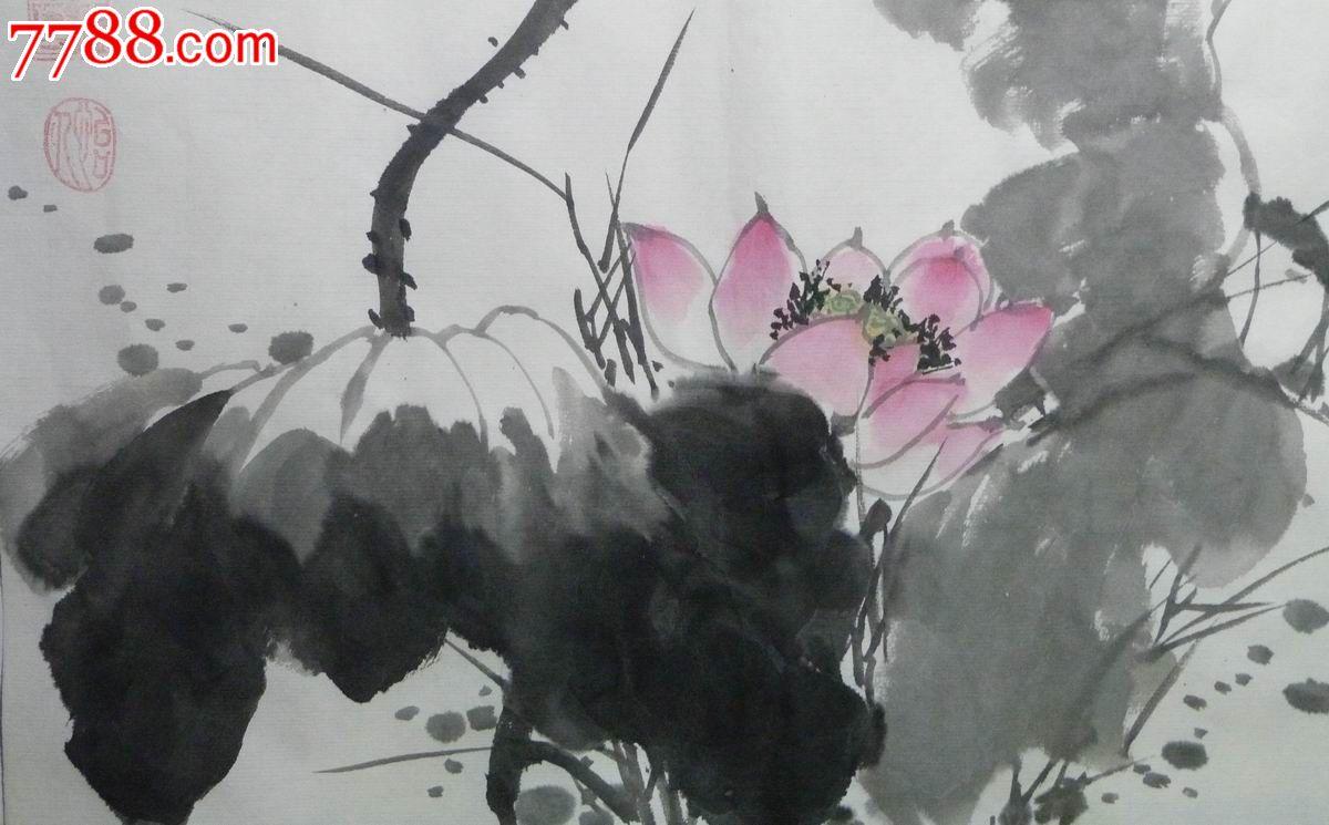 中国画写意荷花花鸟画《晓风》