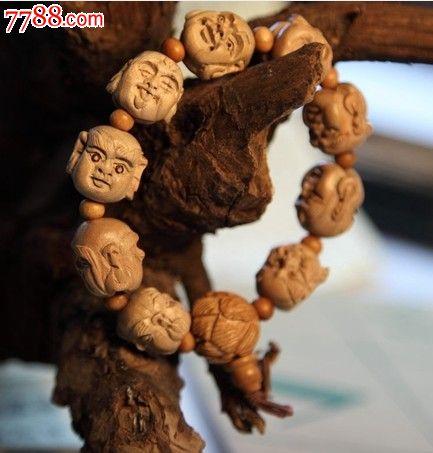 天然桃木雕刻十八罗汉双面手串手链18mm