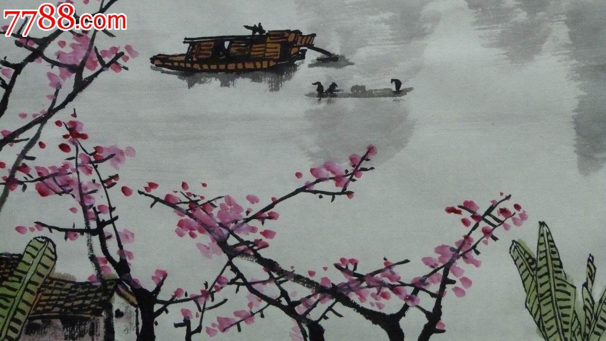 中国画写意山水画《漓江风情》