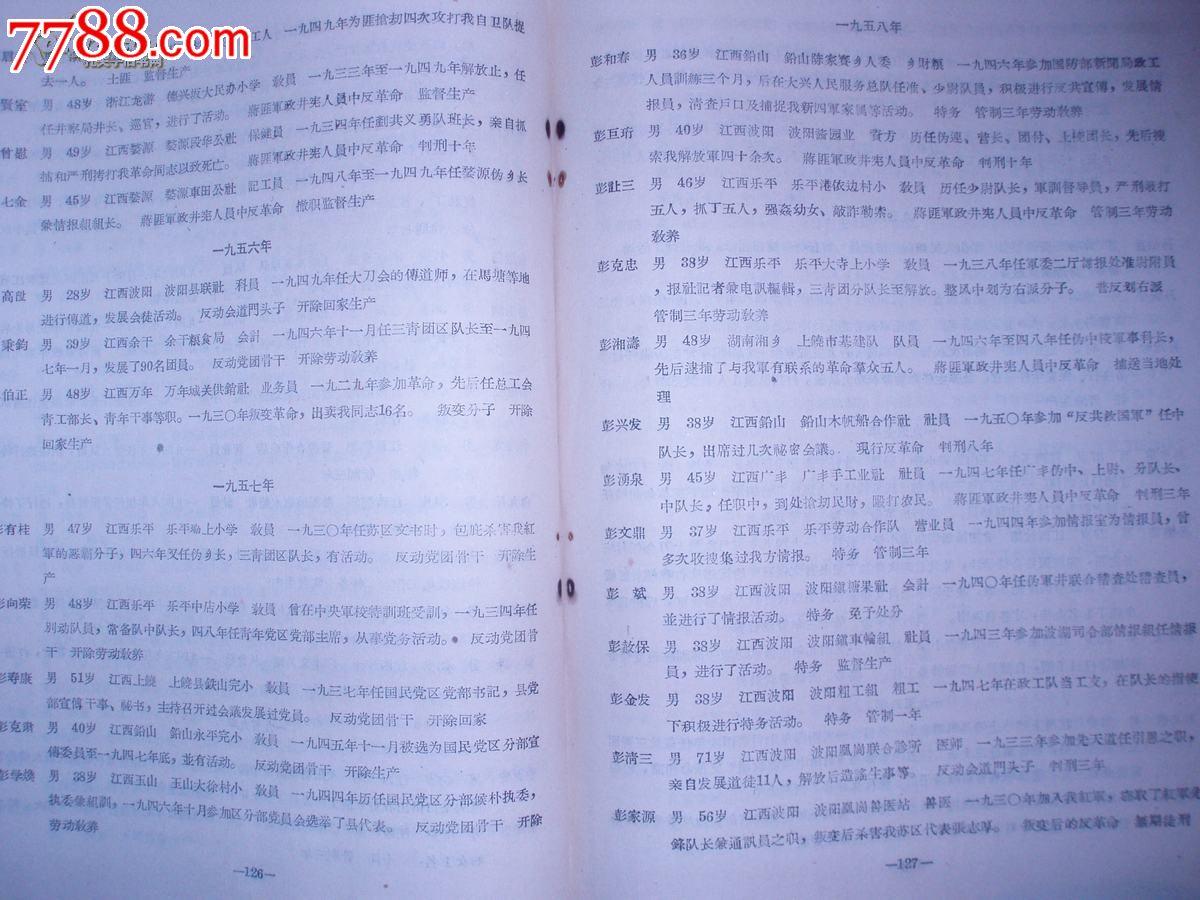 上饶专区内*肃反反坏分子名单汇编(1955-1959)图片
