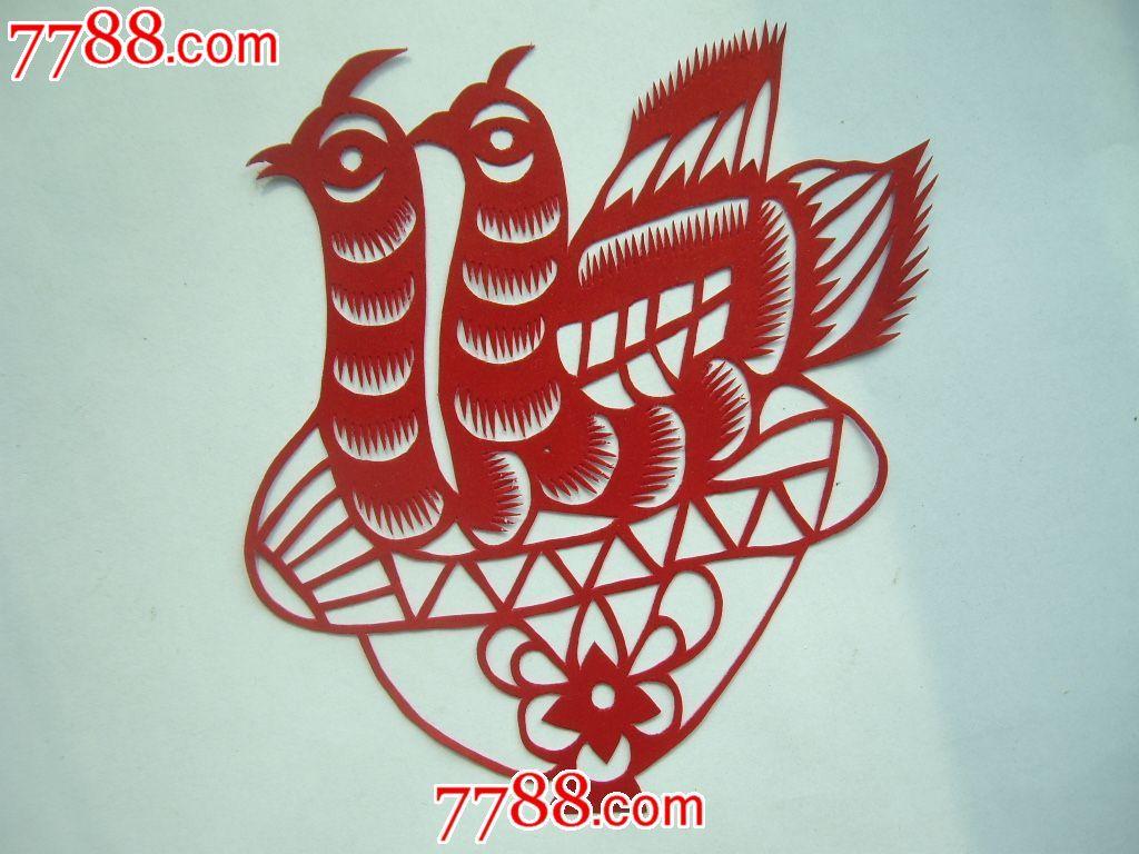 陕北民间纯手工剪纸——两只孔雀
