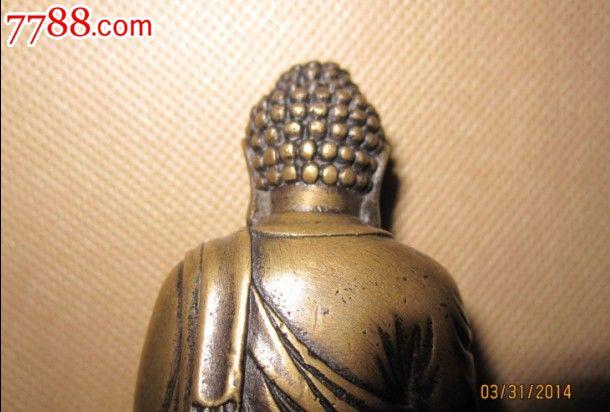 古董古玩老佛像全品无瑕疵民国后至现代释迦摩尼铜佛像高10公分