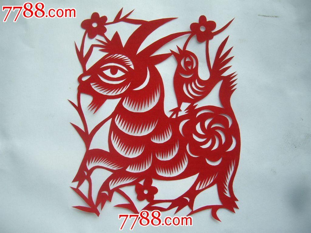 陕北纯手工剪纸:十二生肖第二组,马羊猴鸡狗猪共六张