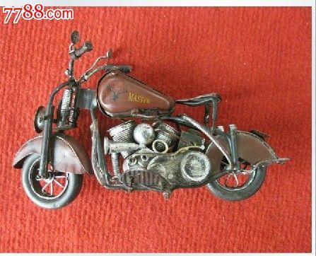 七十年代左右纯手工制作老铁皮摩托车模型(曼仕德名家