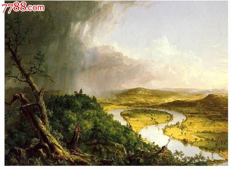 这画还有一个长的名字:《暴风雨后马萨诸塞州北安普敦圣轭山风景》。画的右侧是一幅充满诗意的乡村景象,河流成U形,让人想起牛轭人类控制自然的象征。画的左侧仍是雷雨肆虐的山野。画的本身体现了科尔的矛盾心理:既欣赏人类开发自然,又担心自然遭到破坏。