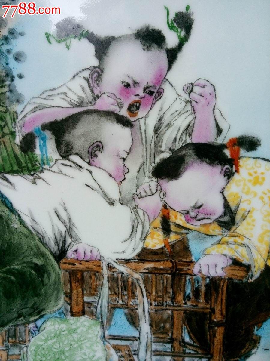 景德镇陶瓷新彩写意人物瓷板画《童趣》