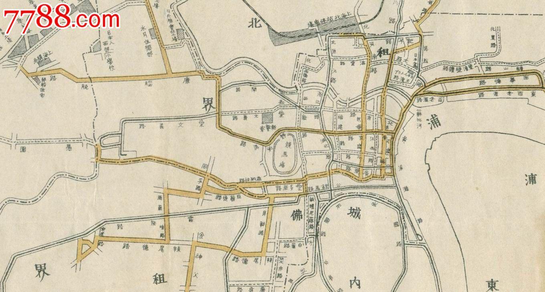 1927年上海有轨电车线路图320x175mm