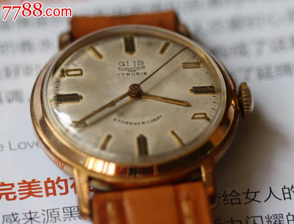 50年代德国名表格拉苏蒂镀金大三针表_手表\/腕