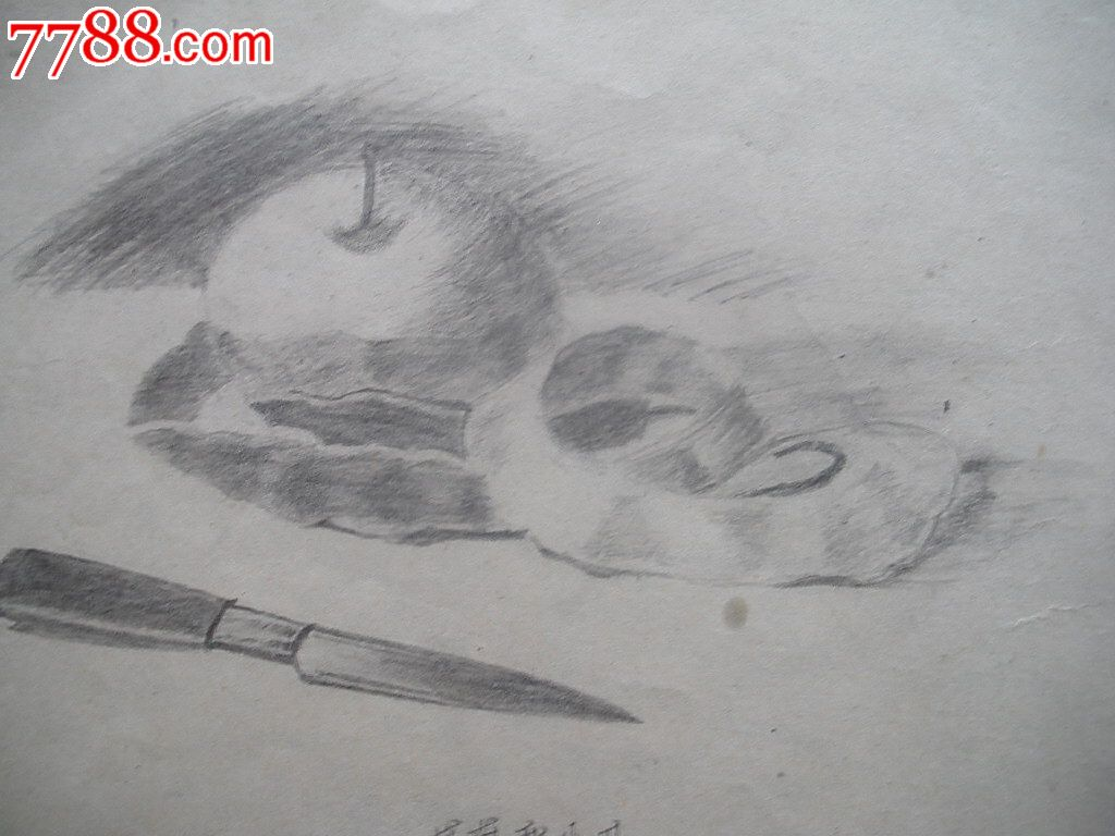 铅笔画原画,,苹果和水果刀o