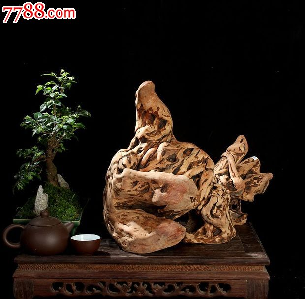 宜居品阁天然根雕/木雕杜鹃根根艺摆件自然件寒鸭戏水