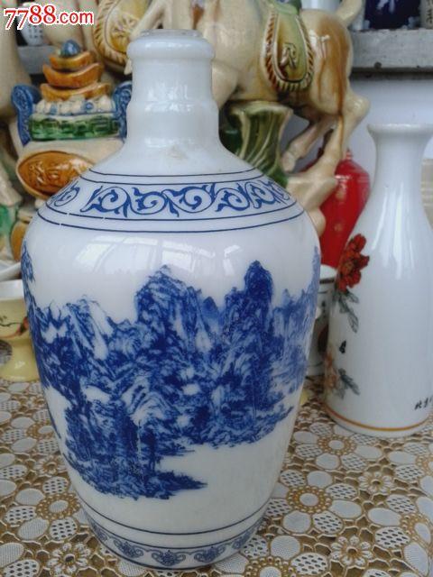 艺术陶瓷酒瓶收藏--山东董郎春酒山水风景1斤陶瓷酒瓶