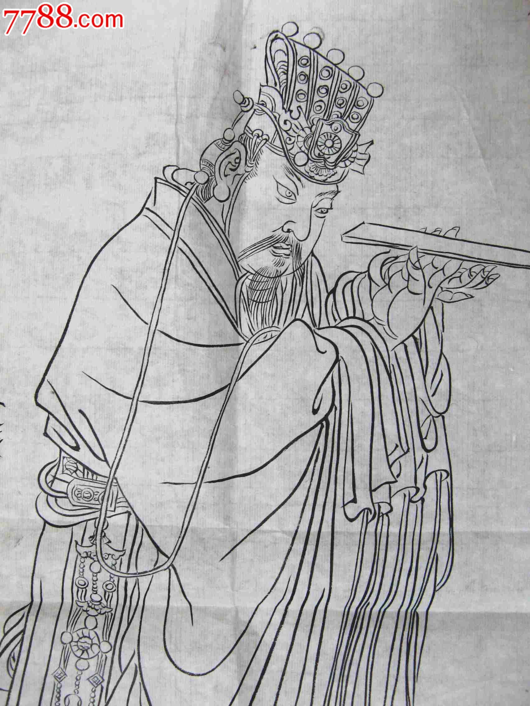 简洁精练的尺半条幅无款古代人物画:大臣朝觐图