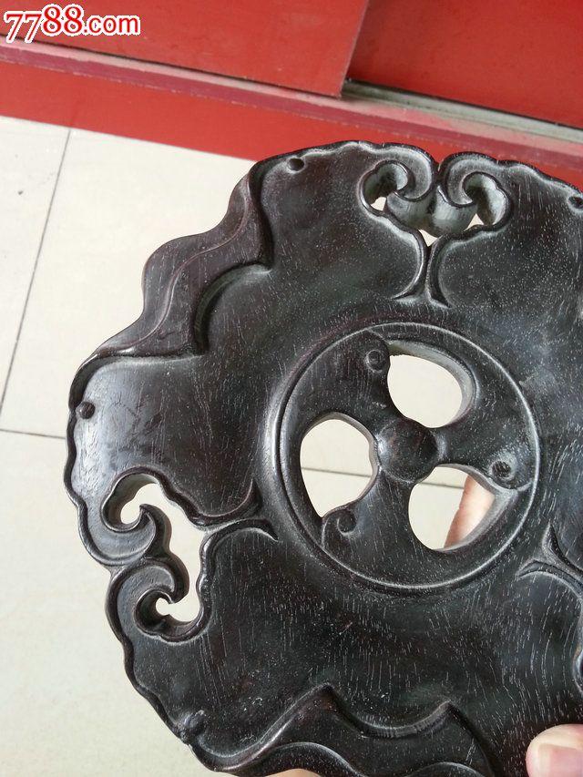 老木雕紫檀木香炉底座木托直径20cm_价格2600.