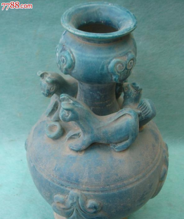 孔雀蓝古代瓶子