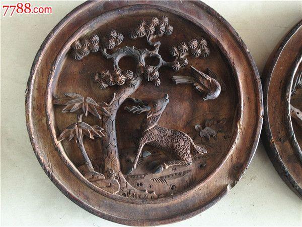 清代圆形花板木雕木艺古董古玩收藏马上封侯