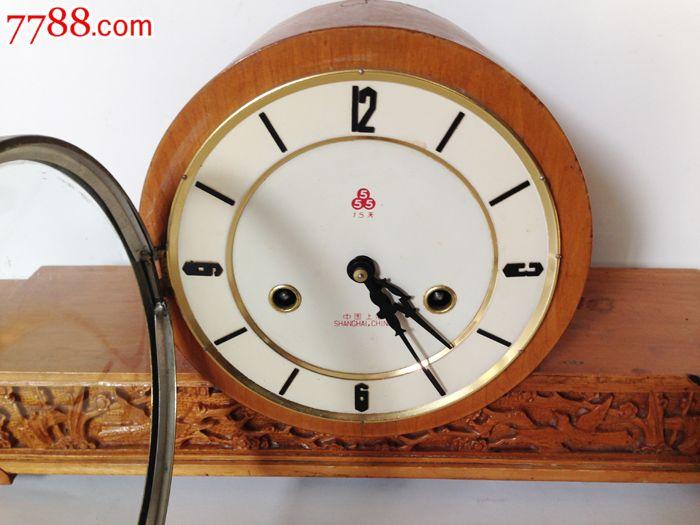 怀旧收藏老钟表上海三五牌老式机械座钟外壳带雕刻老座钟图片