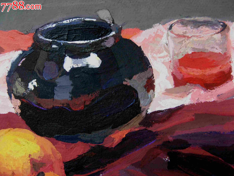 八开静物水彩画 水果与容器