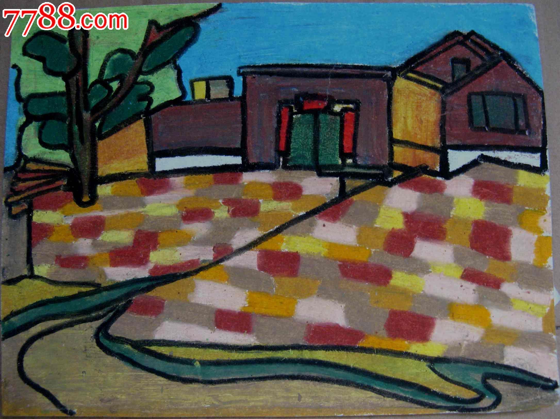 16开风景水粉画三张 树木 房屋