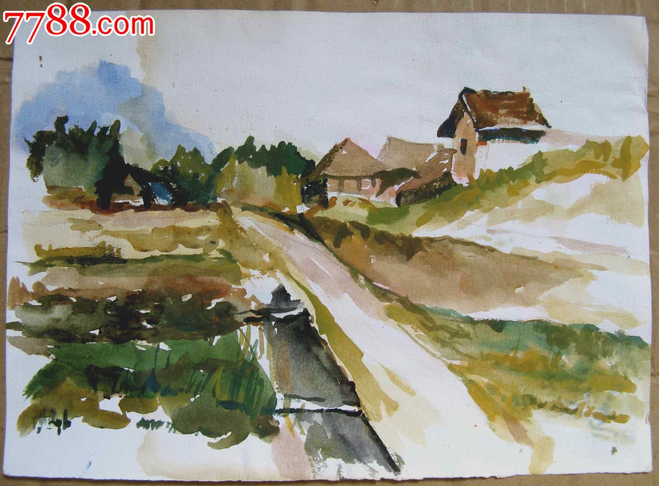 16开风景水彩画三张:田园风光