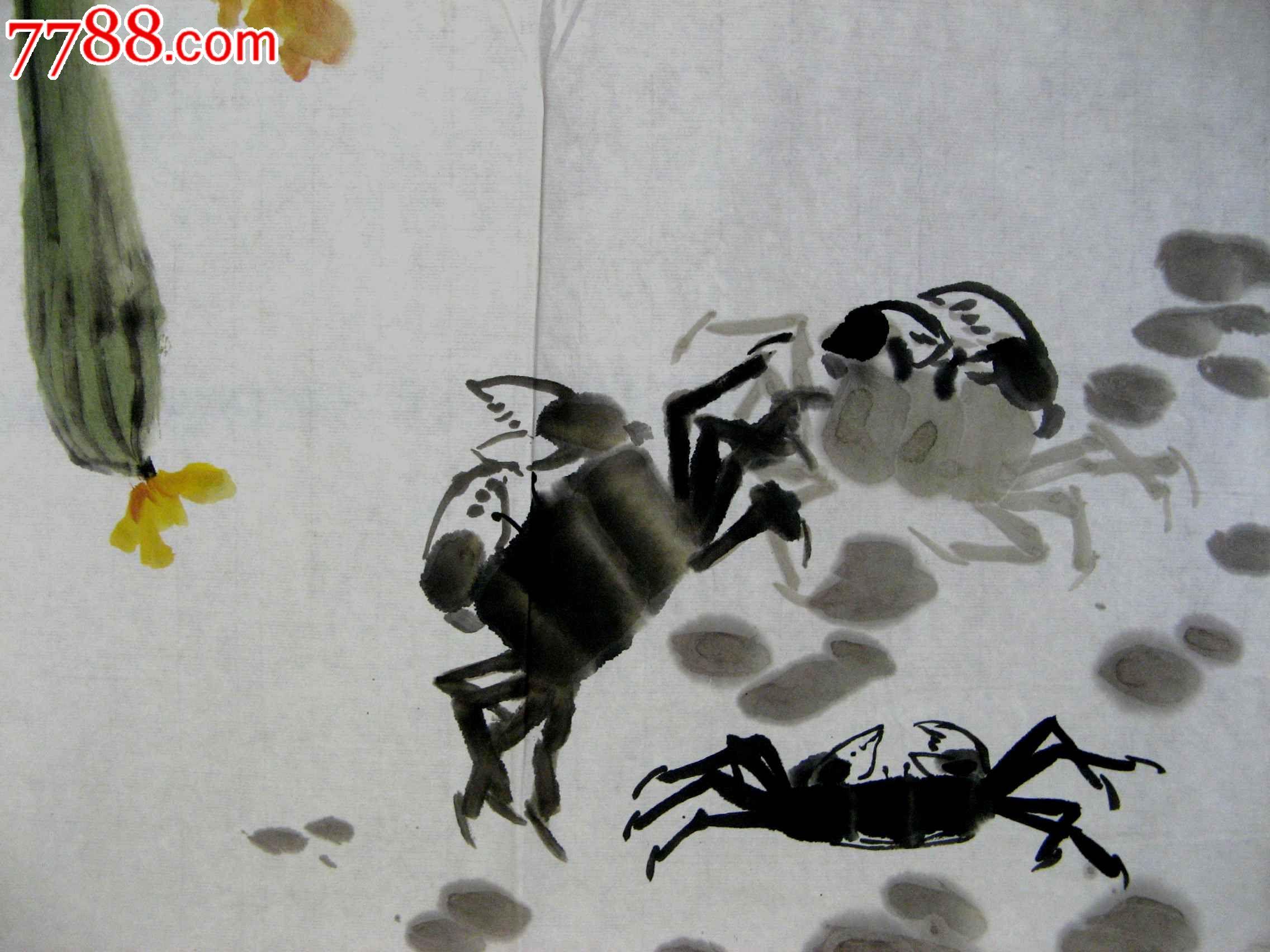 四尺开三无款写意丝瓜螃蟹画:瓜熟蟹肥