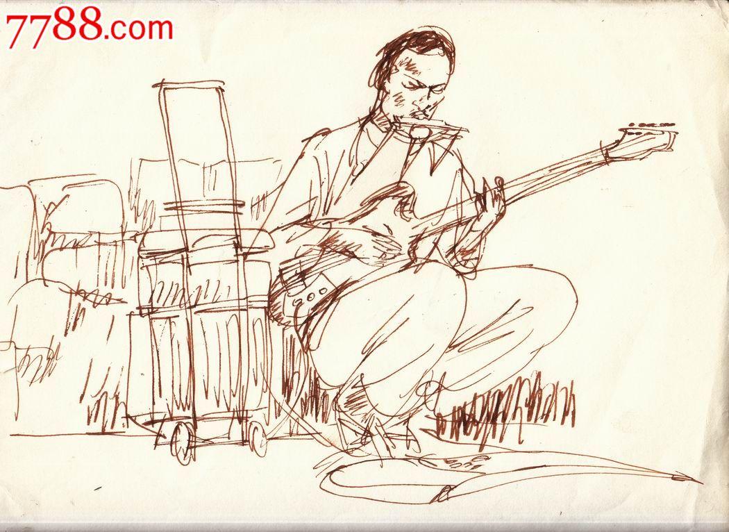 【画家原美院学生·素描·原画稿】吉他手·80年代