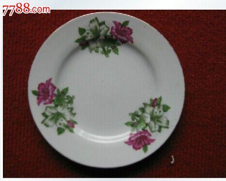 经典怀旧七八十年代陶瓷盘子兰花图案长15cm中国保老