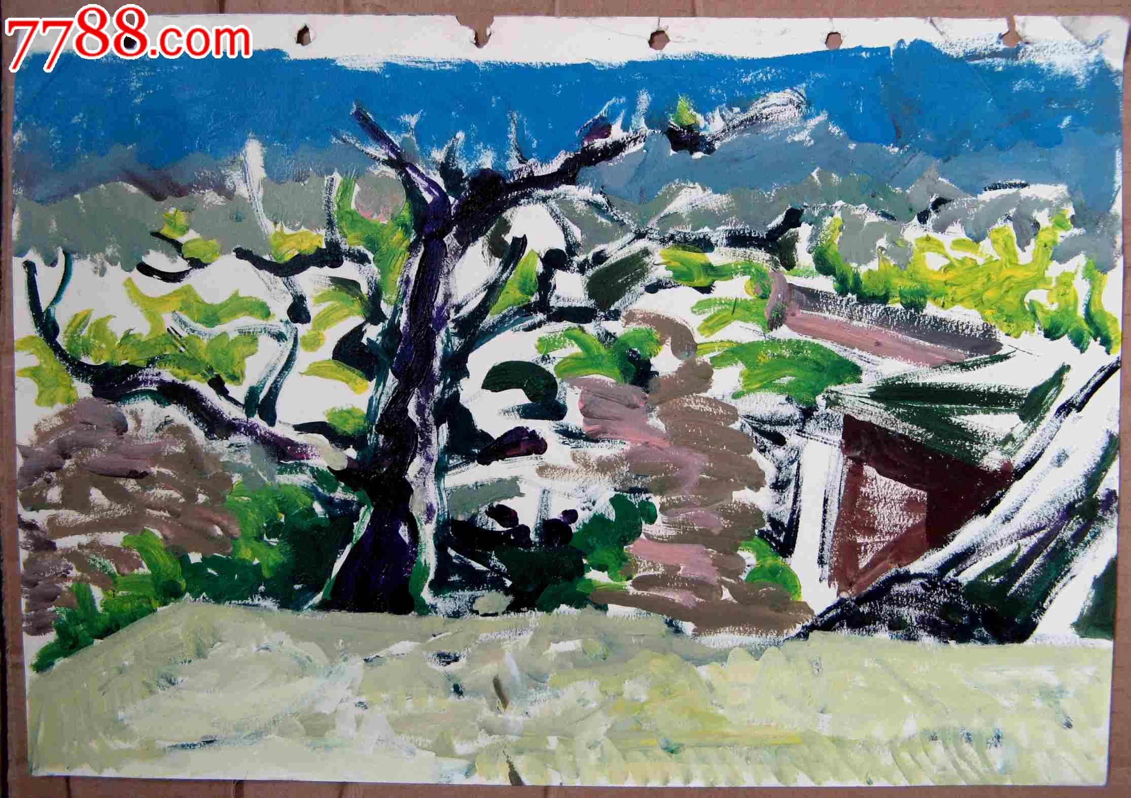 纸面景物油画:村头大树有余荫