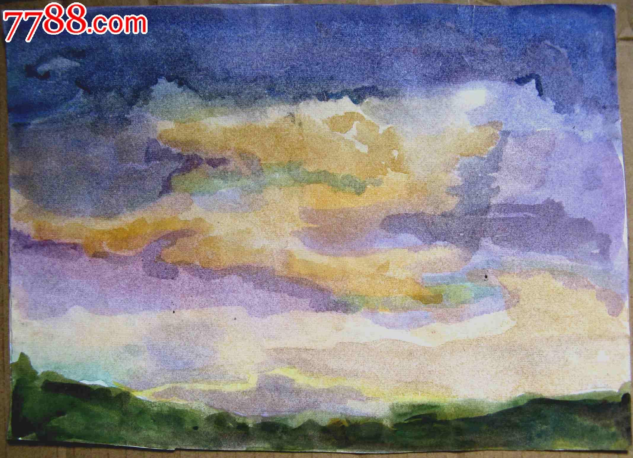 16开风景水彩画二张:村落,天空