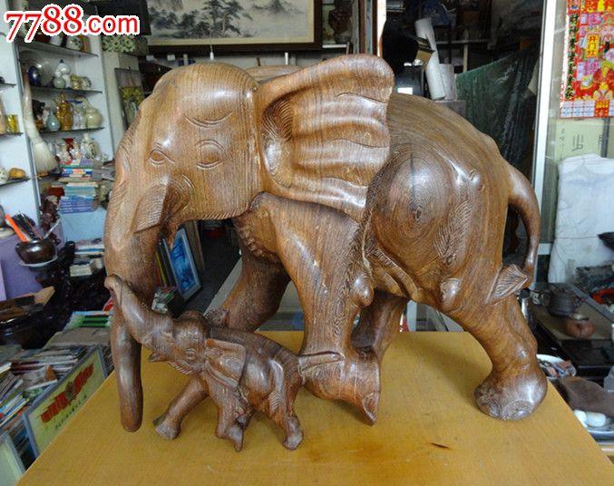 鸡翅木子母象大象手工老木雕摆件