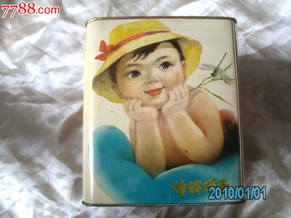 文革儿童图案饼干桶