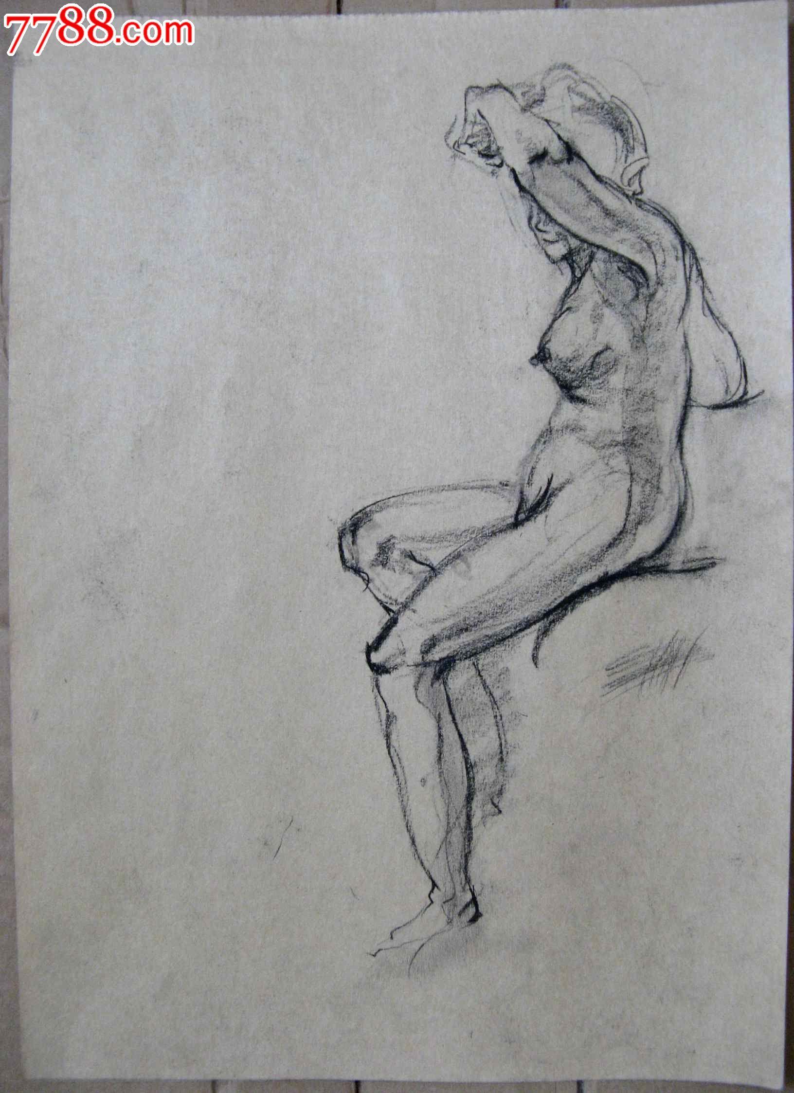 素描人物画2幅:女子人体写真