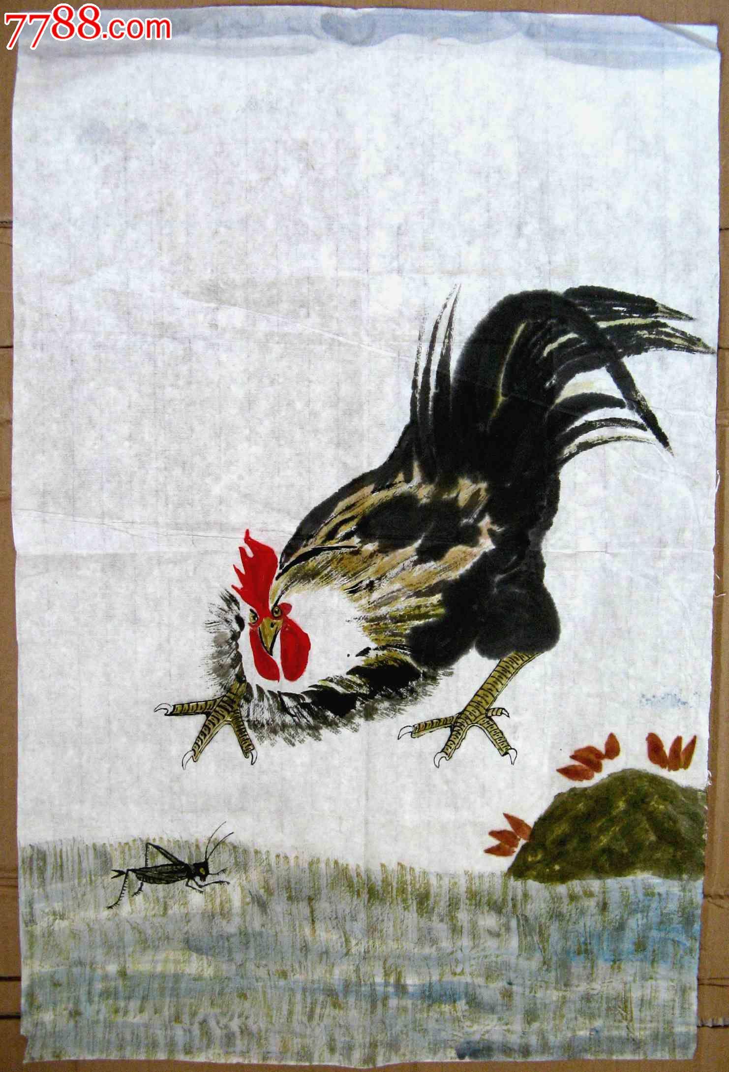 洋人大鸡吧_趣味盎然的四尺开三无款大鸡画:大鸡斗虫图