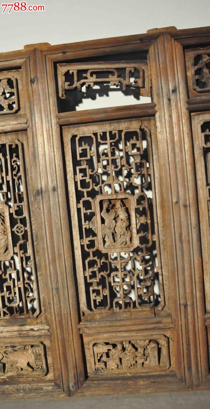 明清中式/古董收藏/旧实木雕花窗一对老门窗格子图片