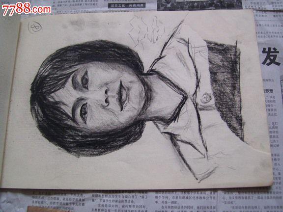 80年代铅笔素描手稿:16开图画本20页左右,头像及肢体素描内容