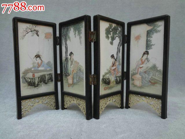 fwp0l-精美的中国古代四大美女瓷版画老屏风一套,瓷板