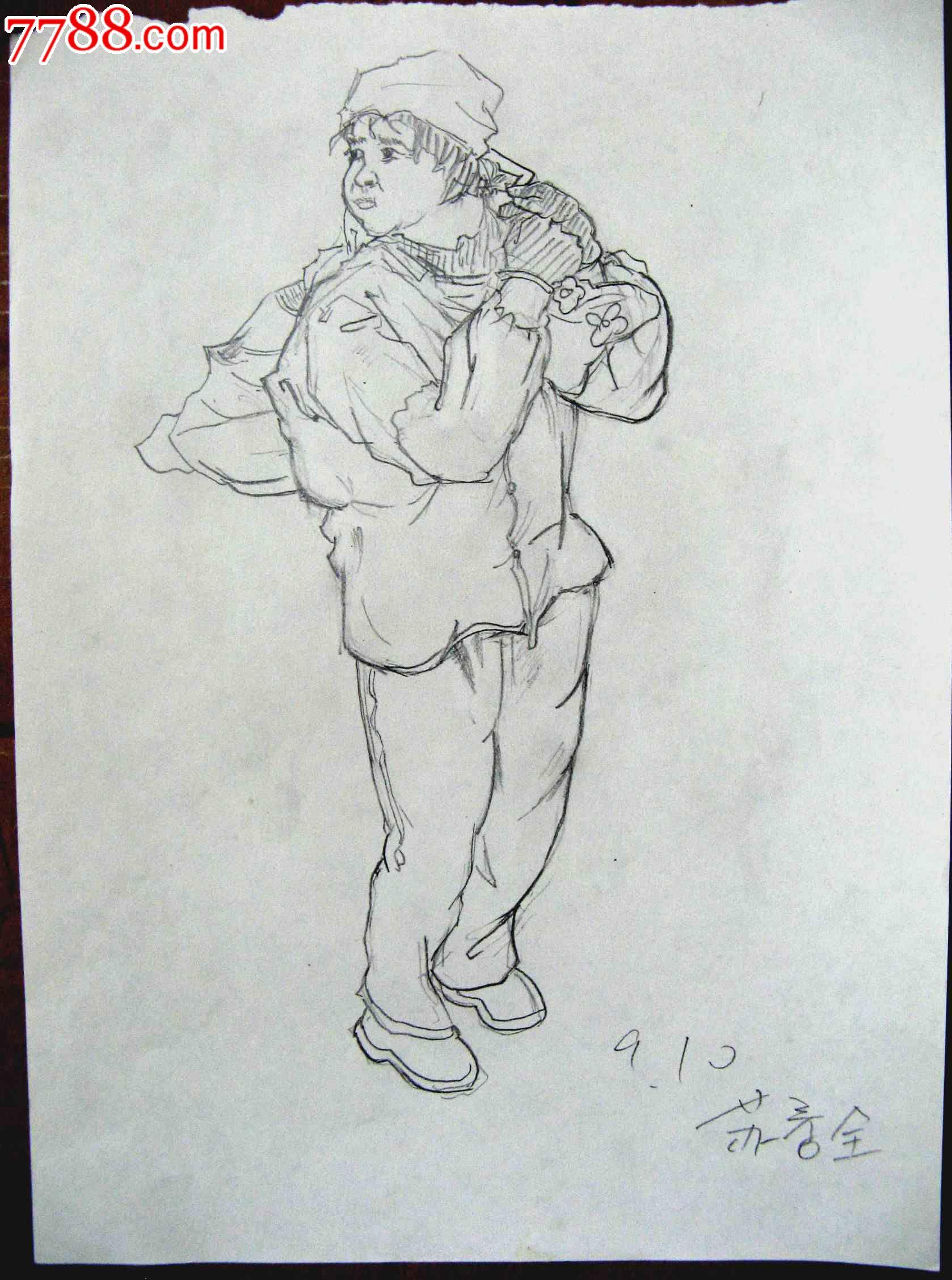 素描人物画2幅:拿包的女生