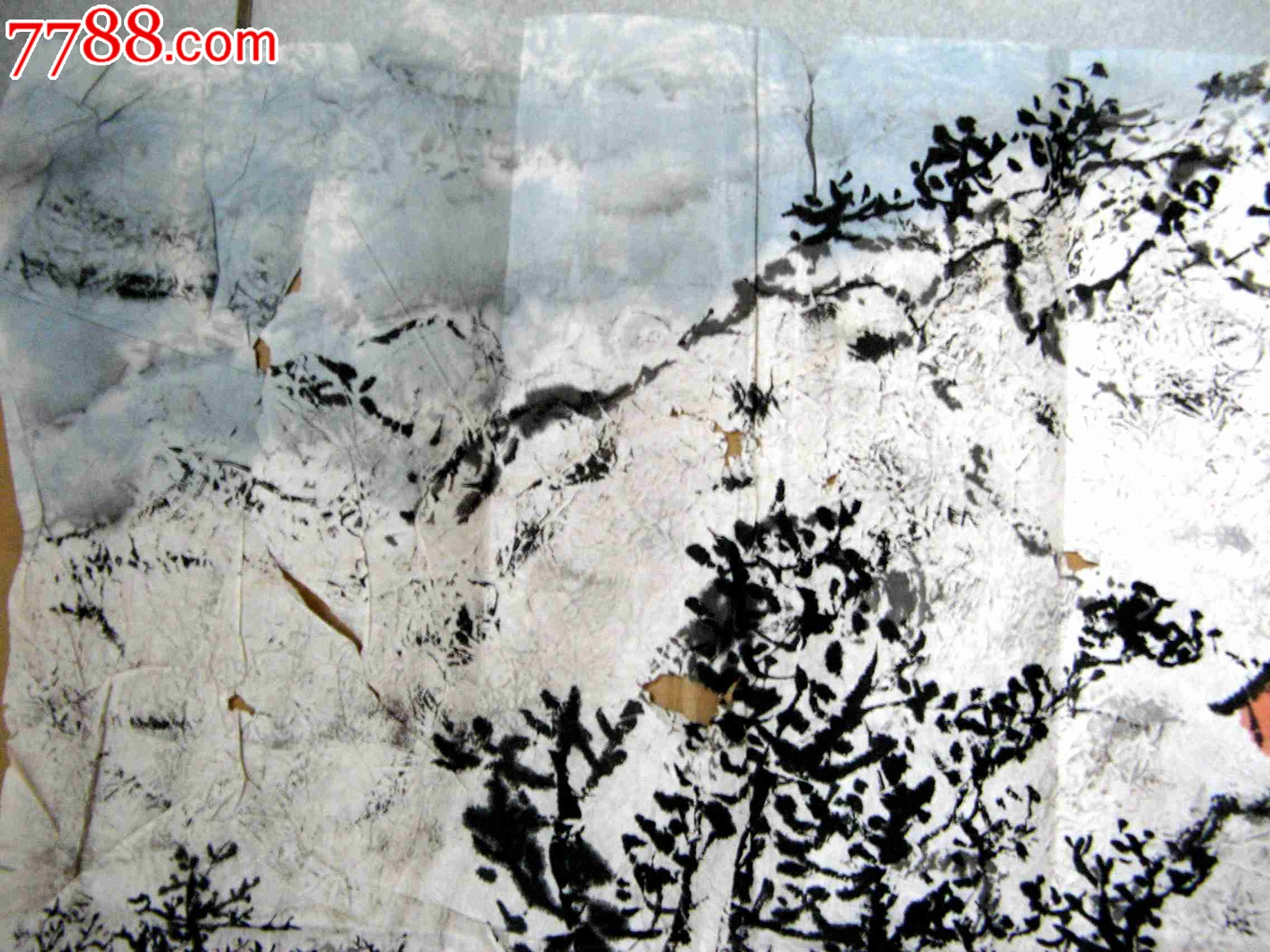 云山浩阔,意境悠远的三尺横幅无款山水画:村山雪景