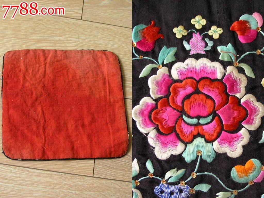 刺绣收藏140603-云南早期手工绣缎面黑底花开富贵枕头