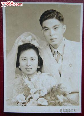 """织云结婚做了椿哥的新娘子,1953年青岛""""鸿新""""照相馆"""