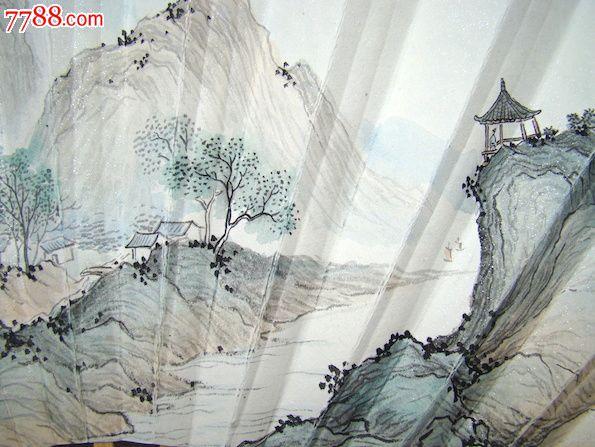 保证毛笔纯手绘山水画成扇图片