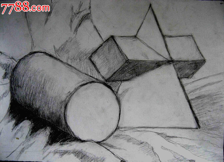 铅笔素描画2幅 静物几何图形图片